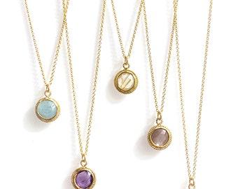 Petite sun medallions (emerald, aquamarine, amethyst, golden rutilated quartz, chocolate moonstone)