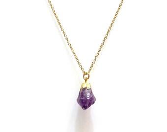Calming amethyst crystal necklace