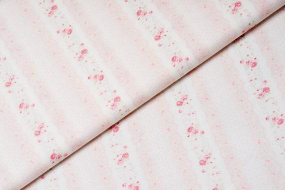 Stoff Landhausstil rosa Streifen mit Rosenmuster   Etsy