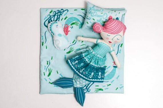 Stoffpuppe Meerjungfrau selber nähen mit Anleitung | Etsy