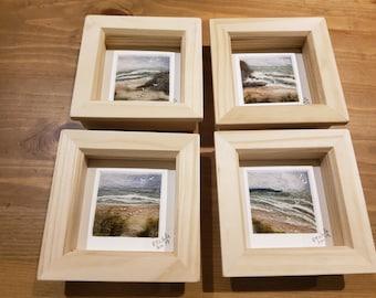 Needle felt pictures - miniature landscape/seascape pictures.  Perfect little presents.