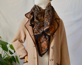 French Vintage Beige/Brown Wool Top Coat - Loose, Boxy Fit, Boho Jacket - Made in France - Size Medium/40
