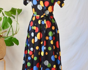 Vintage dress 80s90s collar tie with multicolored stripes G\u00e9rard Pasquier Paris