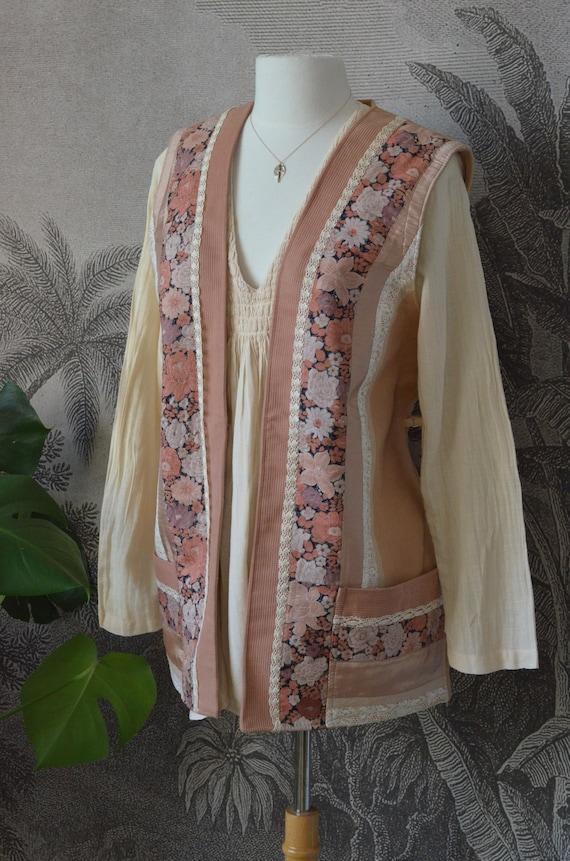 French Vintage - 1970's era - OOAK Patchwork Vest