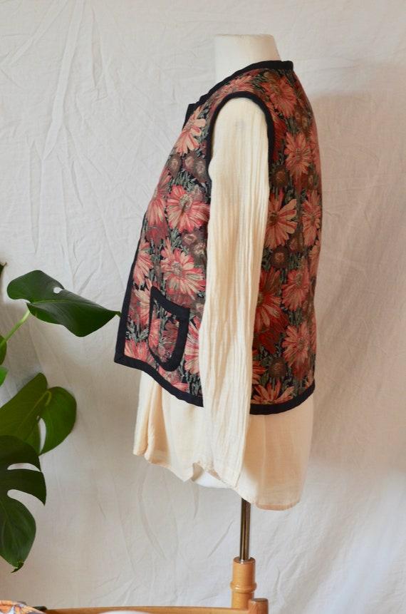 French Vintage Reversible Quilt Vest - 1970's Era