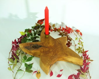 Candle holder, birch wooden star, gift for him, you, women, men, unique wood, home décor, birthday, Christmas, autumn, winter