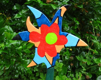 wood flower 62 cm, art flowers bed plants plug, star children, balcony decoration, indoor garden, moving in, duration spring, gift sustainable