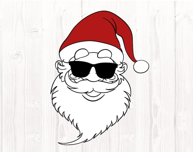 Svg cut files Cool Santa Cricut Silhouette Christmas svg files Santa hat SVG Santa face svg Santa with sunglasses Merry christmas svg