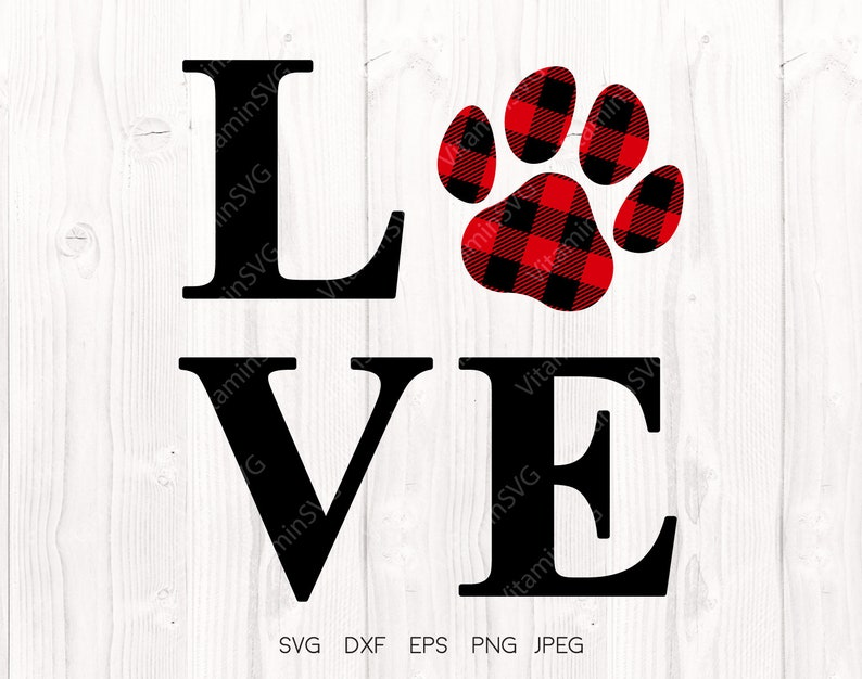 0202db1e Love paw svg, Buffalo plaid paw svg, Cricut downloads, Paw svg, love paw  print svg, Valentine's Day svg, Cat mom svg, Silhouette designs