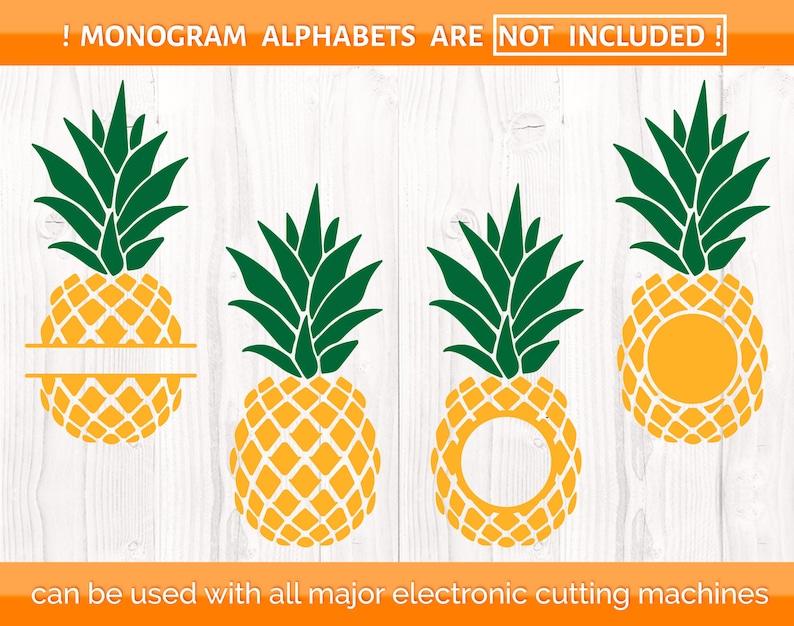 Summer svg Silhouette designs Tropical Cricut downloads Pineapple svg Pineapple monogram frame Beach Pineapple cut file Vacation svg