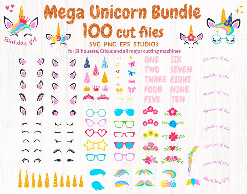 Unicorn bundle SVG, unicorn kit SVG, Unicorn party, birthday clip art svg,  unicorn cricut download, unicorn silhouette svg, horn svg, face