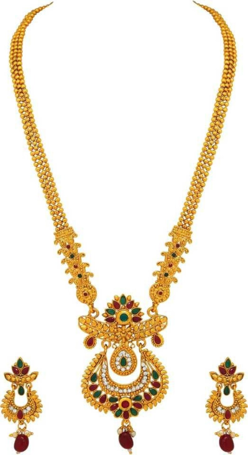 Gold Plated  Wedding Jewelry Long Necklace Earrings Set,Elegant Designer Kundan Jewelry Set Multi Color Ethnic Indian Traditional Jewelry