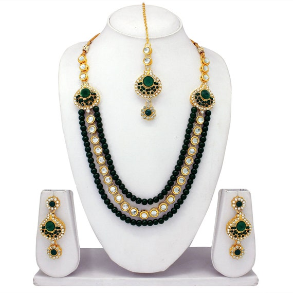 Green Pearl Ethnic Indian Traditional Stunning Gold Plated Choker Wedding Party Wear Sterling Necklace Earrings Tika Jewelry Set