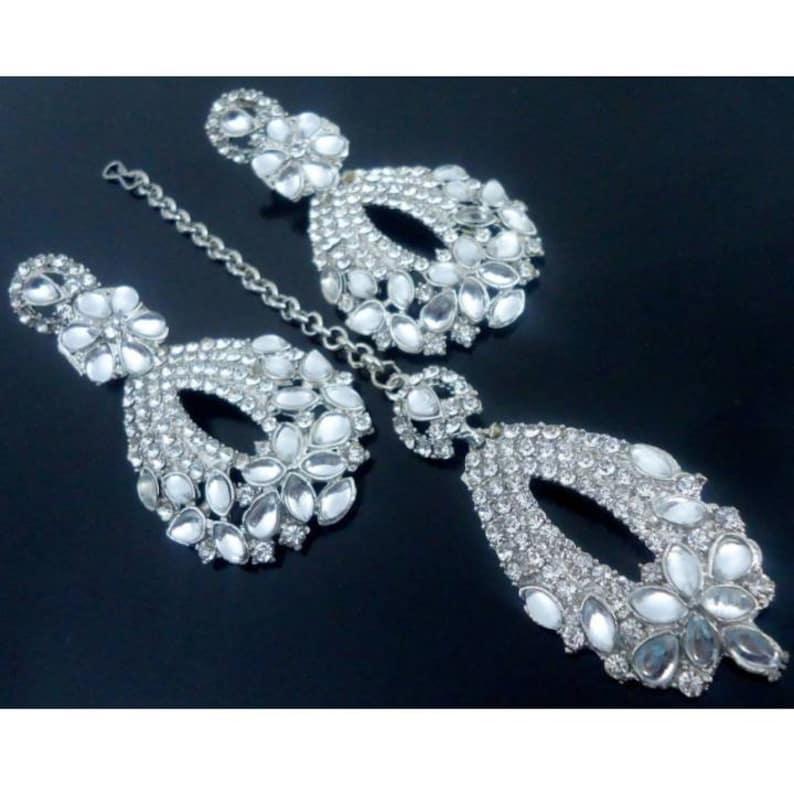 Kundan Bridal Indian Bollywood Style Fashion Wedding Silver Plated Diamond Necklace Earrings Tikka Party Jewelry Set