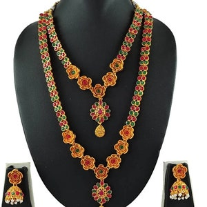 LCT Golden Color Beautiful Designer Ethnic Indian Traditional Long Gold Plated Wedding Temple Kundan Necklace Earrings Jewelry Set