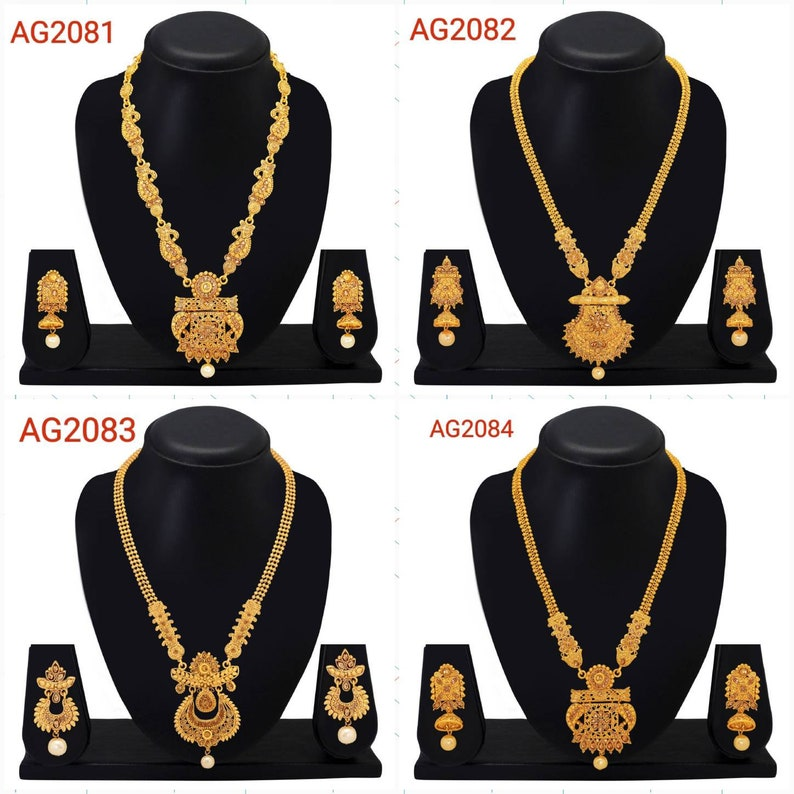 Indian Bollywood Gold Tone Pearls Bridal Wedding Traditional Jewelry Sets