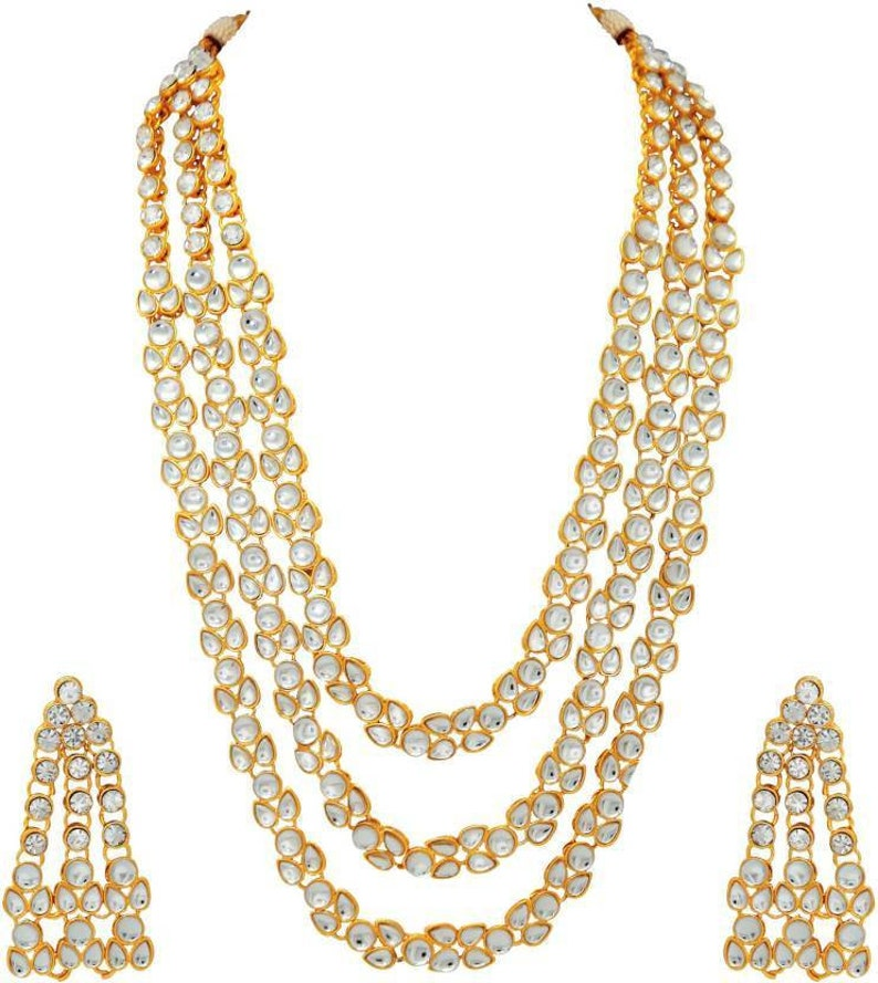 3 String Indian Bollywood Fashion Traditional Party Wear Bridal Wedding Jewelry,Kundan Set Necklace with Earrings Long Multi Layer Gold Tone