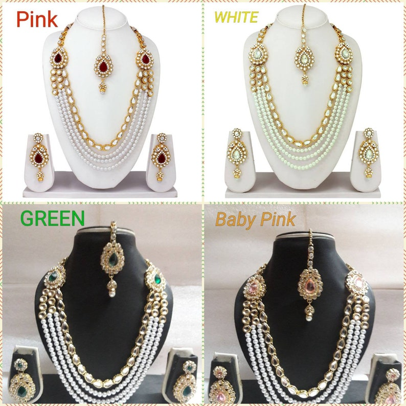 d47a5eae949bd Indian Traditional Gold Plated Bridal Wedding Fashion Jewelry Kundan  Necklace Earrings Long Pearl Set Ethnic Wear