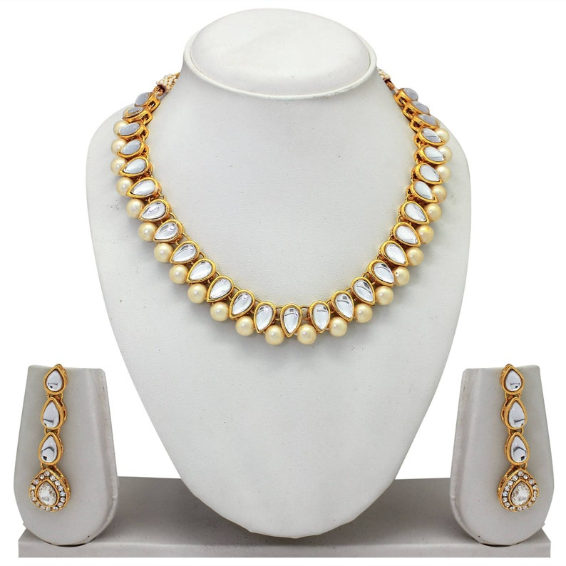 ebc527dac5913 Indian Kundan Jewelry Set Wedding Party Wear Gold Plated Stunning Choker  Pearl Beaded Necklace Earrings Fashion Traditional Ethnic