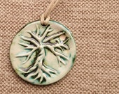 Tree of Life Ceramic Pendant Aromatherapy Necklace – pottery clay jewellery