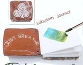 Triskele Handmade Ceramic Labyrinth Journal Hand-bound Notebook Well Being Crafts