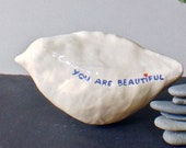 Mindfulness gift - ceramic bird sculpture No.18  'You are beautiful', stress relief and good vibes