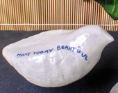 Mindfulness gift - ceramic bird sculpture No.21  'Make today beautiful', stress relief and good vibes