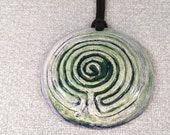 NEW Design! Ceramic pendant, a multipurpose finger labyrinth aromatherapy jewellery, clay Baltic labyrinth