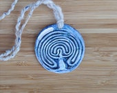 Finger labyrinth  oil diffuser necklace, Goddess labyrinth aromatherapy, pottery jewellery