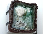 Bubbling Pool   Handmade Seaglass Journal Hand-bound Notebook Well Being Crafts