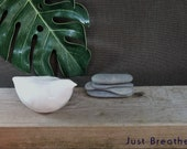 "Bird sculpture  ""Just Breathe "" stress relief and good vibes  Mindfulness gift  ceramics birds  designed to encourage self-love"