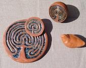 "Blanket of Stars"" Handsculpted large terracotta Finger Labyrinth for mindfulness, meditation, healing, general wellness and home decor"