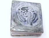 Lavender field Handmade Ceramic Labyrinth Journal Hand-bound Notebook Well Being Crafts