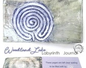 Woodland Lake   Handmade Ceramic Labyrinth Journal Hand-bound Notebook Well Being Crafts