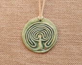 Ceramic pendant, a multipurpose finger labyrinth aromatherapy jewellery, clay goddess labyrinth