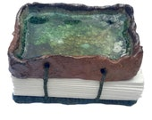 Rockpool  Handmade Seaglass Journal Hand-bound Notebook Well Being Crafts