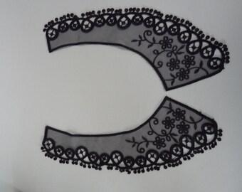 lace ivory lace application set gold collar white, lace velvet black Applique nostalgia lace patch couture lace