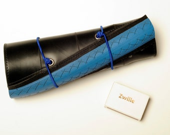 """Roll-up pencil case """"The lazy Artist"""" out of recycled tubes"""