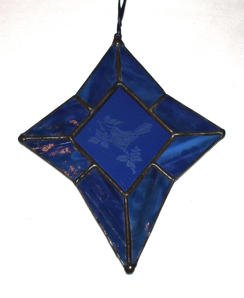 Birthday Home Decor Friendship Gift Hand Crafted Blue Stained Glass Etched Bird Suncatcher Unique Shower Wedding