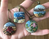 Embroidery Charm   Landscape embroidery pendant   Hand embroidered   Art embroidery pendant   LOTR Fan Gift   Modern embroidery