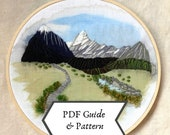 Mount Cook PDF guide with pattern | Landscape Embroidery Mount Cook New Zealand | Hand Embroidery | Detailed instructions | Instant download