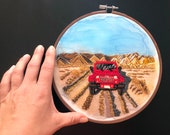 Red Jeep in the rugged Colorado Rocky Mountains  | Landscape Embroidery | Hand Embroidery