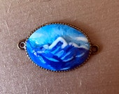 Blue Mount Cook Pendant in Porcelain Style for Necklace | Polymer Clay Pendant | Mount Cook Pendant | Mountain Range Charm