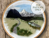 PDF Pattern Mount Cook New Zealand | Landscape Embroidery Mount Cook | Hand Embroidery | Digital Download PDF | Pattern only