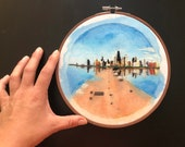 Chicago Skyline |  City Skyline Embroidery | Windy City | Hand Embroidery | Urban Embroidery