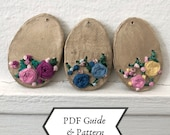 PDF guide with pattern | Modelling Easter egg and hand embroider with floral design | Simple instructions | Suitable for beginners