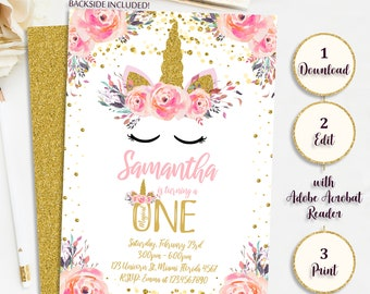 1st Birthday Unicorn Invitation Editable Party Invite Printable Instant Download Digital