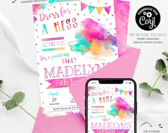 Painting Invitation, Painting Birthday Invitation Printable, Painting Party Invite, Art Party Invitation, Watercolor, INSTANT DOWNLOAD