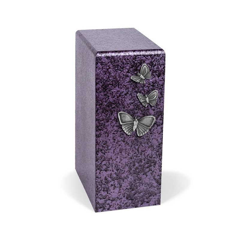 Purple cremation urn with antique Butterflies for ashes image 0