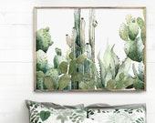Cactus Watercolor Green Plants Painting Botanical Illustration Cacti Art Minimalist Modern Desert Wall Art Succulent Print Aloe Horizontal